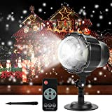 FEENGG Christmas Projector Light Snowfall LED Projector Waterproof Rotating Snow Projection with RF Remote Decorative Projector for Christmas, Halloween Party