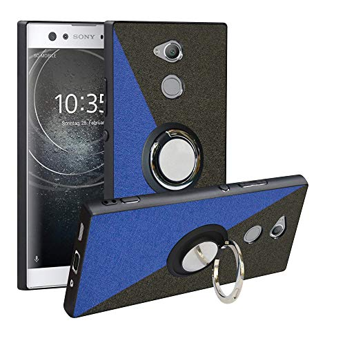 Alapmk Kompatibel mit Sony Xperia XA2 Ultra Hülle, Pattern Design [Kratzfest] TPU Schutzhülle Hülle mit Metallfingerringständer [Magnetic Car Mount], Cover für Xperia XA2 Ultra,Blue/Black
