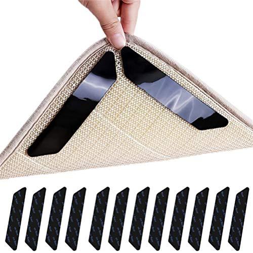 Kinnter Antislipmat voor tapijt, antislip, ondertapijt, herbruikbare functie, wasbaar, kantoor, keuken, badkamer, ideale antislip, 8 wit/zwart