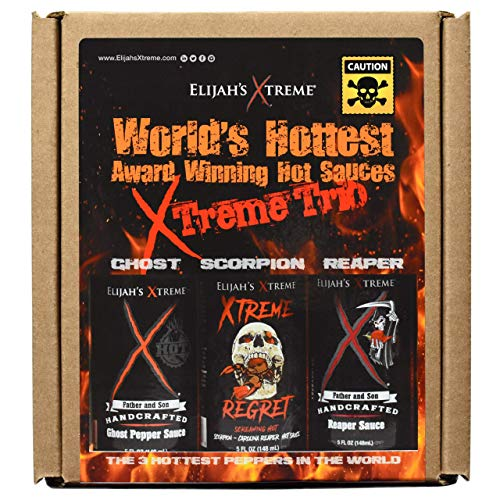 World's Hottest Hot Sauce Gift Set, Elijah's Xtreme Award Winning Hot Sauce Variety Pack Includes Ghost Pepper Hot Sauce, Scorpion Pepper Sauce and Carolina Reaper Hot Sauces (3 Bottles)