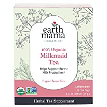Organic Milkmaid Tea by Earth Mama | Supports Healthy Breastmilk Production and Lactation, Herbal Breastfeeding Tea Supplement, 16 Teabags per Box