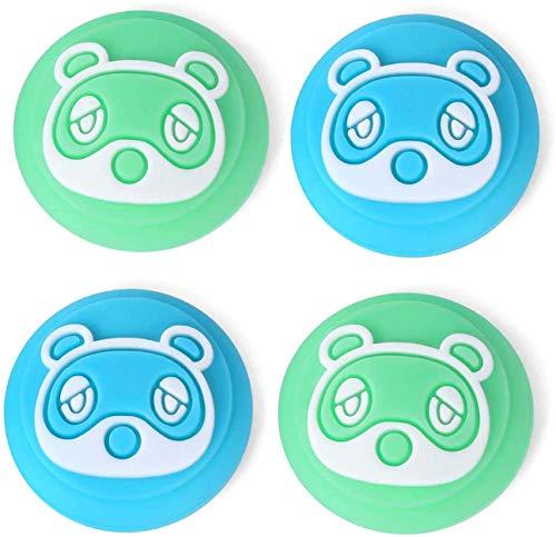 LightPro Switch Animal Crossing Daumengriffe Kappe, süßer Waschbär Joy Con Joystick Caps für Nintendo Switch und Switch Lite, weiche Silikon-Schutzhülle für Nintendo Switch Controller (blau und grün)