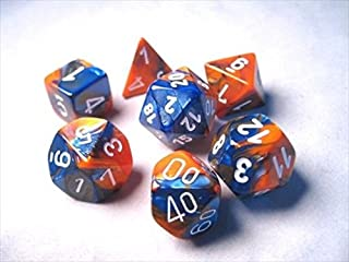 Chessex Manufacturing 26452 Cube Gemini Set Of 7 Dice - Blue & Orange With White Numbering