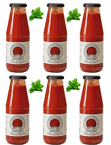 Azienda Agricola Prunotto Mariangela - n. 6 bottiglie Polpa di Pomodoro Biologica con Foglia di Basilico 690 g