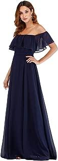 Ever-Pretty Women's A-Line Off Shoulder Ruffle Thigh Hight Split Floor Length Maxi Bridesmaid Dresses EP00968