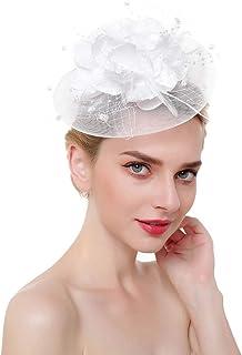 Zoestar Tea Party Fascinators Flower Mesh Hair Clip and Headband Feather Fascinator Top Hatfor Women (White)