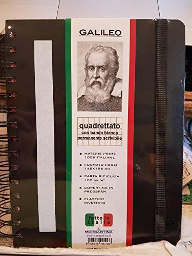 MORGANTINA QUADERNO SPIRALATO GALILEO QUADRETTATO FORMATO 14,8X19,6 CARTA RICICLATA 100GR.