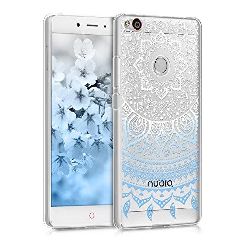 kwmobile ZTE Nubia Z11 Hülle - Handyhülle für ZTE Nubia Z11 - Handy Case in Indische Sonne Design Blau Weiß Transparent