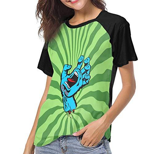 Actuallyhome Santa Cruz T-Shirt de Baseball Uniforme imprimé pour Femmes, Tee-Shirt pour Adultes, vêtements de Sport