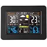 Color Weather Station Alarm Clock with Outdoor Sensor, Wireless Weather Station with Thermometer, Hygrometer & Snooze, Bright Color LED Digital Display with Calendar for Home and Office (Black)