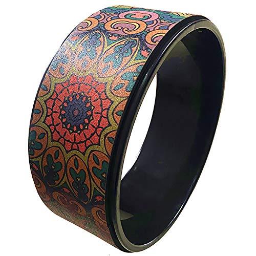 Anillo Yoga Rueda Yoga Impreso Cork Yoga Wheel Back Dobling Fitness Wheel Dharma Prop Sheel Adecuado Para El Gimnasio Para El Hogar Cuñas de Yoga de Rollo de Yoga ( Color : Black , Size : 13x32cm )