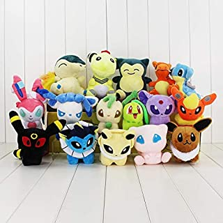 PUNIDAMAN 16Pcs/Lot Anime Cyndaquil Ampharos Chikorita Plush Dolls Toys Stuffed Soft Gift Cool Must Haves 1 Year Old Boy Gifts Childrens Favourites Superhero Party Favors UNbox Box