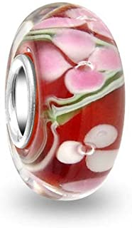 Chic Charms 925 Sterling Silver Core Red Clover Murano Glass Charm Bead European Brand Compatible
