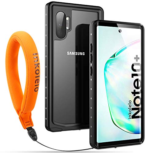 Funda Impermeable Galaxy Note 10 Plus Protección IP68 Waterproof 360-Grados Protectora Antigolpes Anti-rasguños Impermeable Carcasa con Correa Flotante para Samsung Note 10 Plus (Negro mate/Naranja)