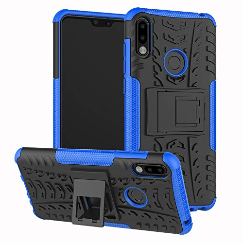JZ Tire Pattern Custodia for per ASUS Zenfone Max PRO (M2) ZB631KL with [Kickstand] Shockproof Scratch-Resistant Back Cover - Blue