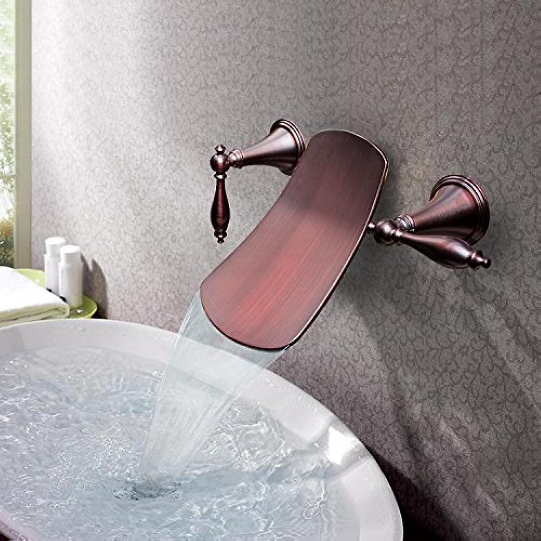 Fen Full Copper die Wand Grünckter Orb Waschbecken Wasserhahn Retro Antik Wasserfall Waschbecken dreiteilige Wasserhahn