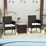 Hironpal Rattan Wicker Weave Cube Garden Furniture Bistro Set 3 Rattan Chairs Coffee Table Armchair Sofa Set with Cushion for Patio Outdoor Conservatory Grey (brown)