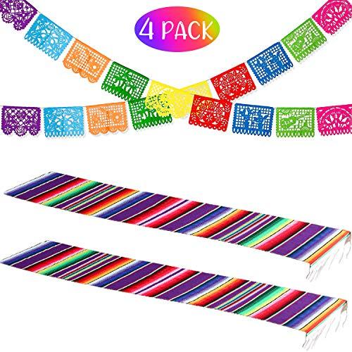 Boao Juego de Decoración de Fiesta, 2 Corredores de Mesa de Sarape Mexicano con 2 Banderas de Fiesta de Mexicana Bandera de Picado de Papel Plástica Grande Bandera de Plástica de Fiesta