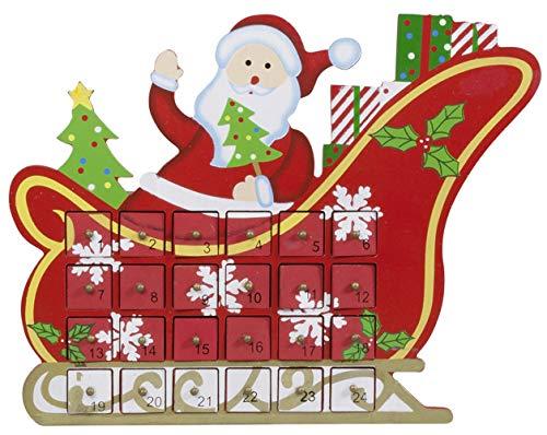 SSITG Kalender adventskalender ongevuld Kerstman op slee van hout decoratie