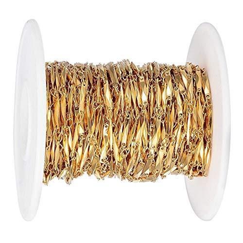 yotijar Cadena de Eslabones de Cable Chapada en Oro de Acero Inoxidable Apta para Fabricación de Collares