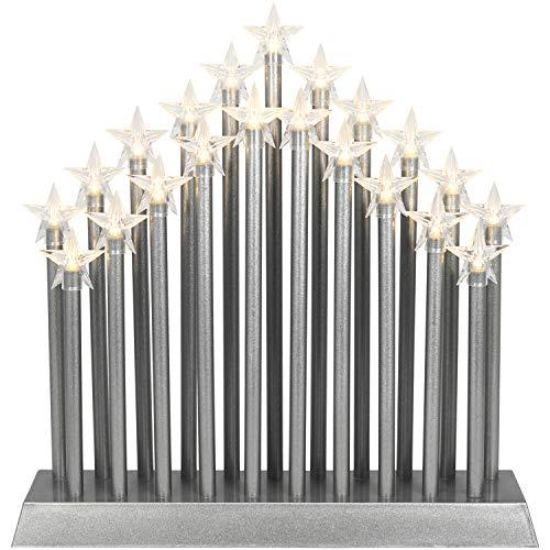 com-four® LED Schwibbogen als Weihnachtsbeleuchtung - Kerzenbrücke mit 21 LEDs - Lichterbogen Pyramide - Fensterleuchter für Weihnachten (01 Stück - 21 LEDs silberfarben)