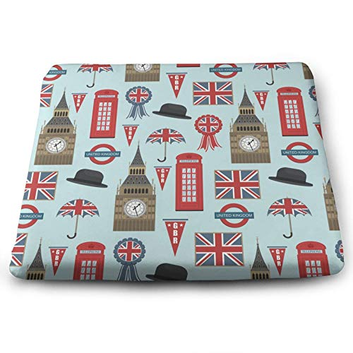 WOAIDY Blue Retro UK Flag Chair Cushion Comfort and Softness Square Chair Pad