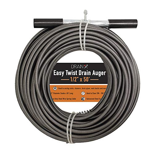 Drainx Easy Twist Drain Auger | Flexible Plumbing Cables for Cleaning Drainage Clogs Includes Storage Bag and Protective Gloves, 1/2' Diameter, 50 FT
