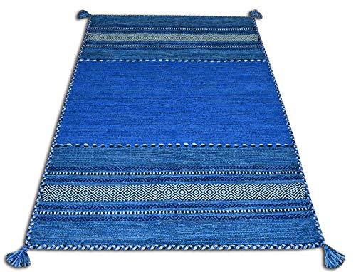 tappeto cucina 90x150 Centesimo Web Shop Tappeto in Cotone Kilim in 9 Misure e 9 Colori Frange Nappe Multiuso Camera Soggiorno Cucina CORRIDOIO PASSATOIA - Blu - 90x150 cm