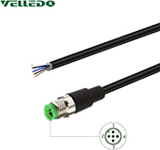 VELLEDQ Field Assembly M12 5-Pin A Coding Industrial Sensor Connector Cable Cord