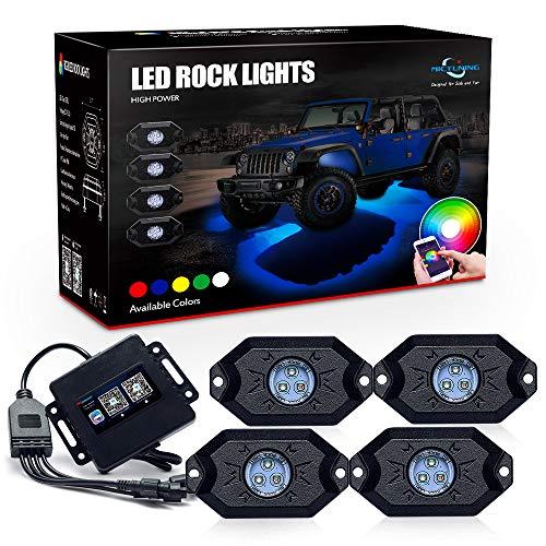 MICTUNING helle RGB Rock Licht mit Bluetooth,Auto innenrraum Beleuchtung-4 Pack