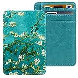 Kandouren Slim RFID Blocking Leather Front Pocket Wallet for Women & Girl,Money Clip,Credit Card Holder Case(Green Van Gogh Flower)