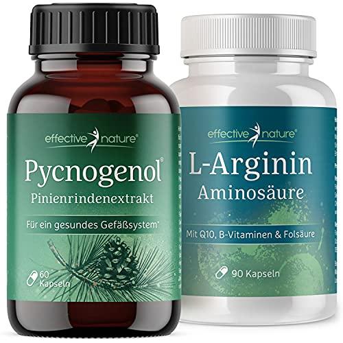 effective nature - L-Arginin und Pinienrindenextrakt Pycnogenol - Kraftpaket für den Mann - Hochdosiert - Reicht für 2 Monate - Mit natürlichem Vitamin C und B-Vitaminen