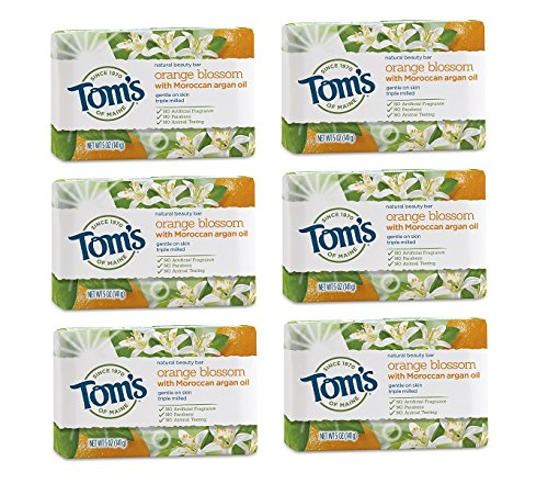Tom's of Maine Natural Beauty Bar Soap, Orange Blossom With Moroccan Argan Oil, 5 oz. 6-Pack