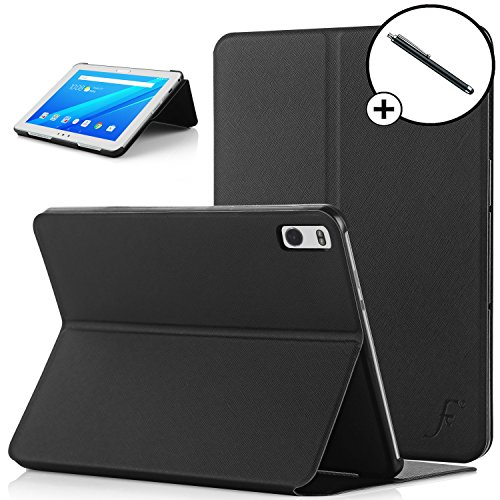 Forefront Cases Lenovo Tab 4 10 Plus/Lenovo Tab4 10 Plus Hülle Schutzhülle Tasche Smart Case Cover Stand - Ultra Dünn R&um-Geräteschutz - Smart Schlaf Wach + Stift (SCHWARZ)
