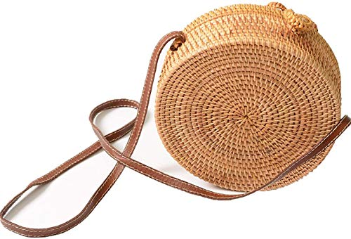 BDFA Bolso Redondo para Mujer en ratán y Correa de Mimbre para Usar en el Hombro, Nudo B05, diámetro, 20 cm