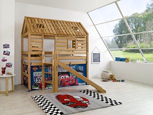 Relita Spielbett Tom?s Hütte mit Rutsche und Textilset Disney, Buche massiv, geölt
