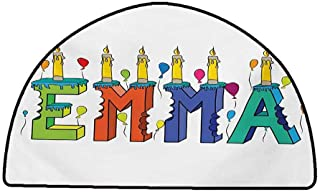 Rug Bathroom Mat Emma,Popular Female First Name Design with Many Colors Candles and Balloons Birthday Theme,Multicolor,W35 x L24 Half Round Carpet Flooring
