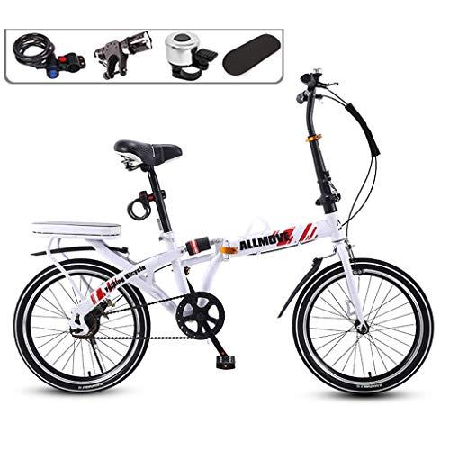 DFKDGL Mountainbike, Klapprad Ultraleichtes tragbares Fahrrad für Frauen 7-Gang-Klapprad aus Carbonstahl, kleines Mini-Damenrad mit 20 Zoll / 16 Erwachsenenrädern