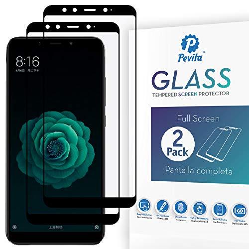 Pevita Protector de Pantalla Pro Xiaomi Mi A2. [2 Packs] Full Screen. Dureza 9H, Sin Burbujas, Fácil Instalación. Protector de Pantalla Pro de Cristal Templado Premium para Xiaomi Mi A2.