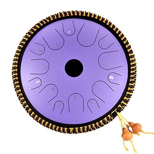 Tambor de lengua de acero 14 notas Instrumento de percusión Handpan de 14 pulgadas Tambor en forma de plato Llave en C Percusión manual Lengüetas de acero con decoración de cuerda y mazos, bolsa