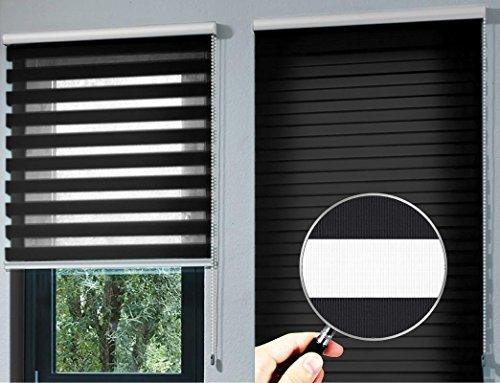 Estor Noche y día Enrollable Premium (Desde 40 hasta 250cm de Ancho) con cajón de Aluminio Blanco Tejido Color Negro. Medida 200cm x 180cm para Ventanas y Puertas