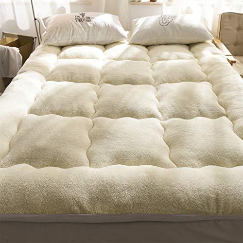 YCC El colchón de terciopelo de cordero es grueso y cálido en otoño e invierno, mullido colchón suave, colchón Tatami, manta de felpa (cama de 1,8 m, color beige cachemira).