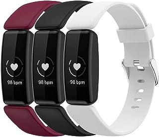 Shieranlee (3-pack bandjes compatibel met Fitbit Inspire 2 riem, zachte siliconen sport klassieke vervanging kleurrijke ba...