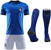 Cytech Italia Maglia da Calcio, Bambino Adulto Maschio Italia Squadra Nazionale Calcio Maglia, T-Shirt Pantaloncini Calze