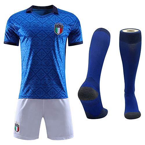 Cytech Italia Maglia da Calcio, Bambino Adulto Maschio Italia Squadra Nazionale Calcio Maglia, T-Shirt Pantaloncini Calze (XS(160-165cm))