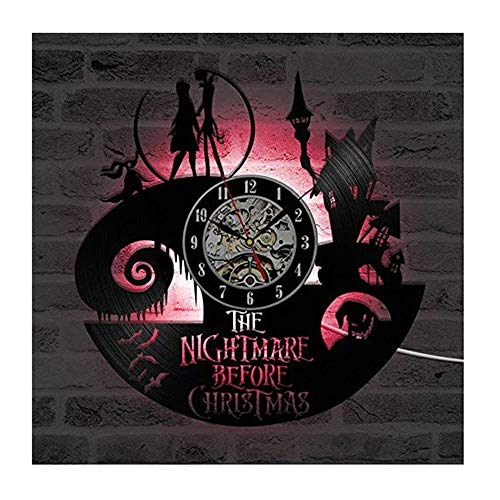 LZXSGZ Reloj De Pared Regalo De Arte Creativo - Bricolaje Hecho A Mano con Led 30 Cm Redondo - Pesadilla Antes De Navidad Tema De Jack Y Sally