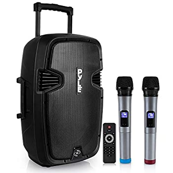Pyle PPHP1299WU.5 Karaoke Portable PA Speaker System - 1000W Active Powered Wireless Bluetooth Compatible Outdoor Speaker W/Rechargeable Battery Wheels USB MP3 RCA 2 UHF Microphone Remote Black