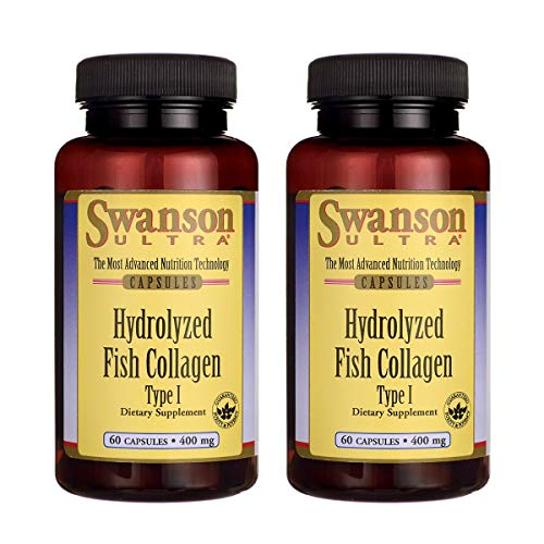 Swanson Hydrolyzed Fish Collagen Type I 400 Milligrams 60 Capsules (2 Pack)