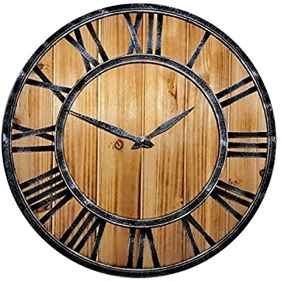 Evursua Large Farmhouse Wall Clocks Metal Frame&Natural Wood Art Distressed Old-Fashioned,18 Inch Rustic Wall Decorative Clock for Living Room,Office,Cafes,Bar (Burlywood, 18 Inch)
