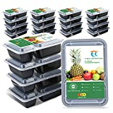 TT Meal Prep Containers 2 Compartments 30 Ounce 21 Pack Plastic Food Container Reusable Heavy Duty Food Container To Go Container,BPA Free,Microwaveable Dishwasher Freezer Safe